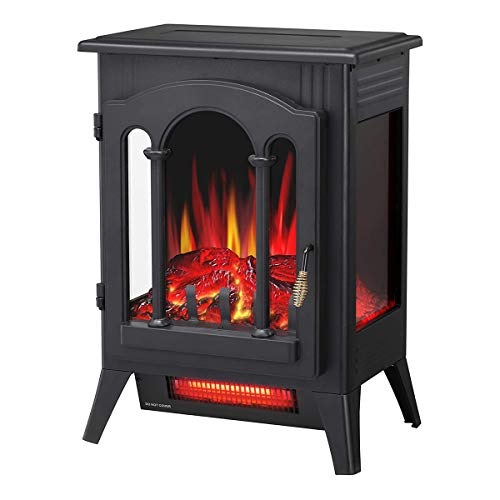 R.W.FLAME Infrared Electric Fireplace Stove, 16' Freestanding Fireplace Heater, Realistic Flame Effects, Adjustable Brightness and Heating Mode, Overheating Safe Design, 1000W/1500W, Black