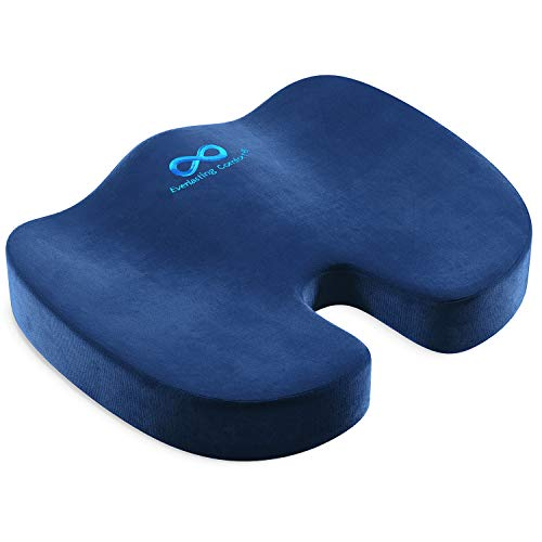 Everlasting Comfort Office Chair Seat Cushion for Back, Coccyx, & Tailbone Pain Relief (Navy Blue)