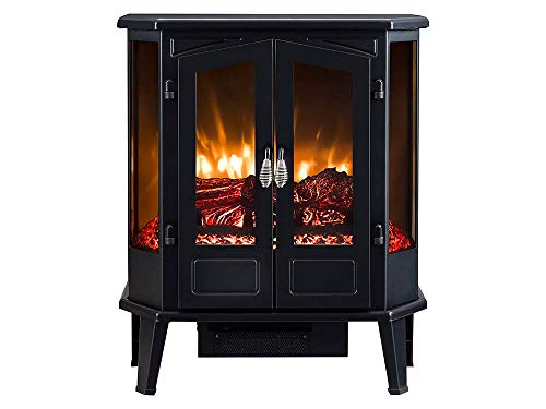HEARTHPRO 5-Sided Infrared Stove Fireplace Heater | Electric Fireplace Stove Heater Freestanding Indoor, Realistic Flame Logs Effects and Overheating Safety (Black)