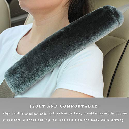 Soft Faux Sheepskin Seat Belt Shoulder Pad for a More Comfortable Driving, Compatible with Adults Youth Kids - Car, Truck, SUV, Airplane,Carmera Backpack Straps 2 Packs Dark Gray