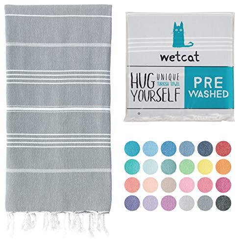 WETCAT Turkish Bath Towels (38 x 71) - Prewashed for Soft Feel, 100% Cotton - Quick Dry Beach Towel Extra Large with Lively Colors - Unique Turkish Towels for Bathroom - [Dark Grey]
