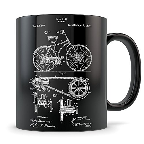 Mountain Biking Gifts for Men and Women - Mountain Biking Mug for Downhill Bike Enthusiasts - Best Biker Gift Idea - Cool Bicycle Invention Patent Cup