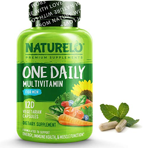 NATURELO One Daily Multivitamin for Men - with Vitamins & Minerals + Organic Whole Foods - Supplement to Boost Energy, General Health - Non-GMO - 120 Capsules | 4 Month Supply