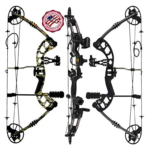 """Raptor Compound Hunting Bow Kit:   Fully Adjustable 24.5-31"""" Draw 30-70LB Pull   5 Pin Lighted Sight, Biscuit Rest, Quiver, Target, Peep Sight, Allen Wrench Set, Assembly Videos   Black Left Handed"""