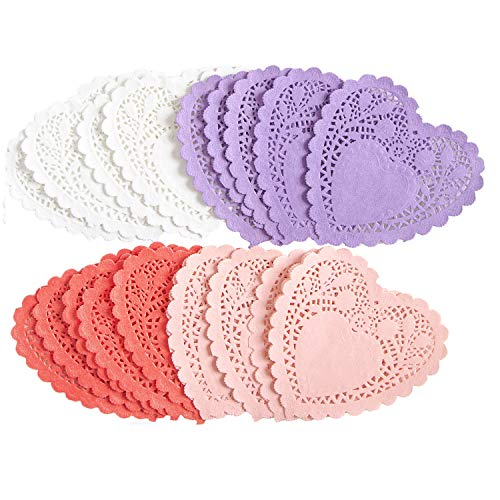 144 PCS Valentines Day Heart Doilies Party Decorations with 4 Colors Valentine Craft Gift Set