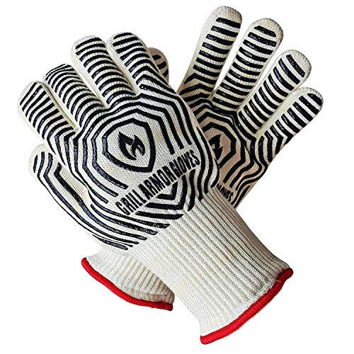 Grill Armor Oven Gloves - Extreme Heat Resistant EN407 Certified 932℉ - Cooking Mitts for BBQ, Grilling, Baking, Camping, Fire Pit, Cast Iron, Smoker, Pizza & More - Indoor & Outdoor - Long Cuff