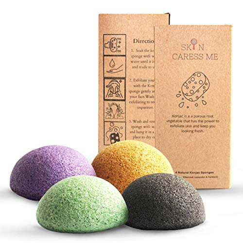 Organic Natural Facial Konjac Sponge and Face Scrubber - Buff Puff for Gentle Face Exfoliation Deep Pore Facial Cleansing Sponge – Aloe Vera, Activated Charcoal, Lavender, Turmeric – 4pc. Set