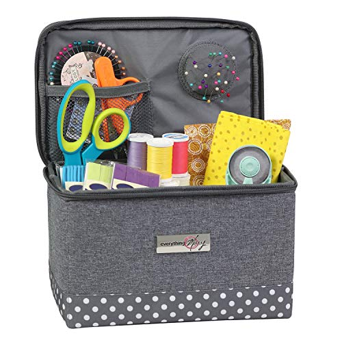 Everything Mary Collaspible Sewing Kit Organizer Box, Heather - Supplies Storage Basket for Supplies and Accessories - Organization for Thread, Needles, Notions & Scissors - Portable Craft Caddy