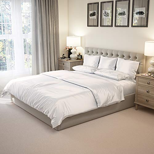 Mulberry Park Silks - Cal King Silk Sheet Set (17' Pocket) - Ivory - Deluxe 22 Momme 100% Pure Mulberry Charmeuse Natural Bedding - Oeko-TEX Certified - Seamed