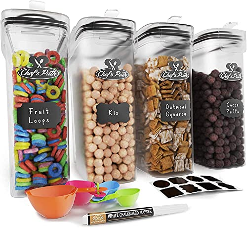 Cereal Containers Storage Set, Airtight Food Storage Containers, Kitchen & Pantry Organization, 8 Labels, Spoon Set & Pen, Great for Flour - BPA-Free Dispenser Keepers (135.2oz) - Chef's Path (4)