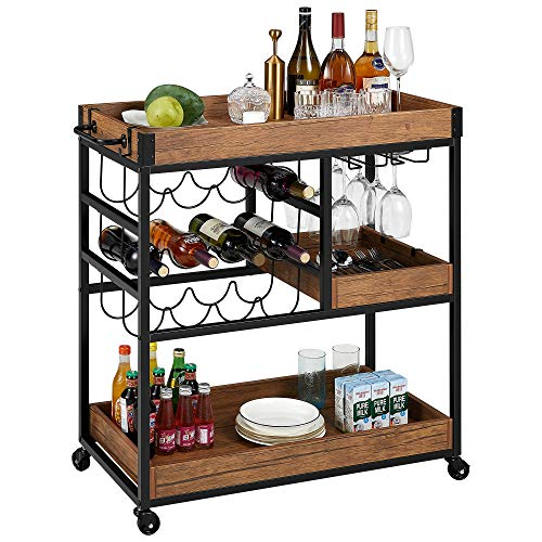 kealive Bar Serving Cart for Home, Mobile Bar Cart with Lockable Wheels Handle Rack, Industrial Vintage Style Wood Metal Wine Cart with Glass Holder Removable Container, 31.4L x 15.7W x 35.4H