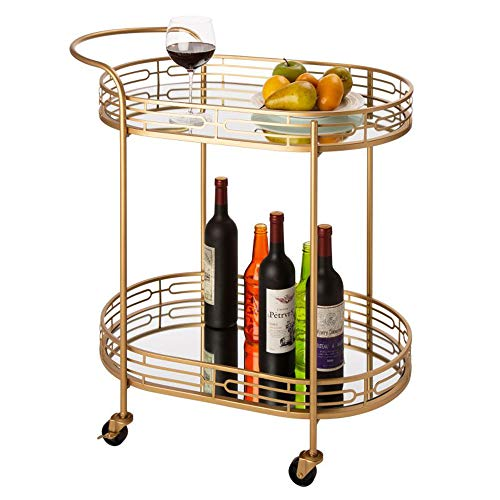 Glitzhome 30.71' H Oval Gold Bar Cart with 4 Wheels 2-Tier Deluxe Tray Metal Mirrored Glass Top Rolling Serving Cart for Kitchen Living Room Hotel Wine/Tea Serving Cart