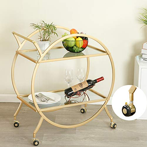 HEONITURE Bar Cart with 2 Mirrored Shelves, Modern Metal Bar Serving Cart, Gold Round Bar Carts for The Home/Kitchen/Club/Living Room, Rolling Wheeled Design (28.34''14.96''30.7'')