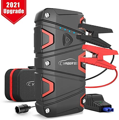 Car Jump Starter, YABER 1200A Peak 16000mAh Car Battery Jump Starter Pack Up to 7.5L Gas or 6.0L Diesel with USB Fast Charge, 12V Battery Starter with Smart Jumper Cables Built-in LED Flashlight