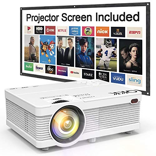 QKK Mini Projector 6500Lumens Portable LCD Projector [100' Projector Screen Included] Full HD 1080P Supported, Compatible with Smartphone, TV Stick, Games, HDMI, AV, Projector for Outdoor Movies
