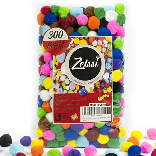 Zelssi 300 Pieces 1 inch Pom Poms Vibrant Assorted Pompoms for Crafts, Multi Colored Pom Pom for DIY & Arts and Creative Crafts Projects and Decorations