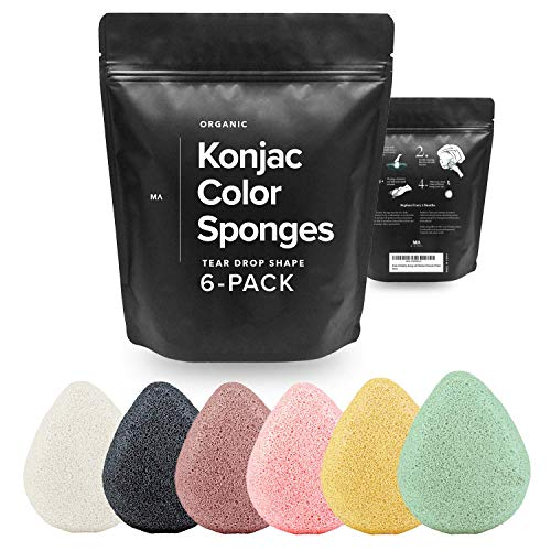 Minamul Konjac Exfoliating Organic Facial Sponge Set   Gentle daily face scrub/skincare   Safe for Oily, Dry, Combination or Sensitive skin   Charcoal, Turmeric, French Green, Red & Pink Clay