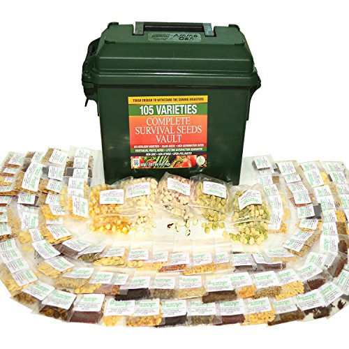 Complete Survival Seeds Vault - 105 Heirloom Varieties - 19,465 Seeds - High Germination Rates - Vegetables, Fruits, Herbs - Non-GM, Non-Hybrid, Open-Pollinated