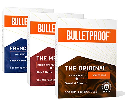 Variety Single-Serve Pods, 72 Count Bundle, Bulletproof Keto, 100% Arabica Coffee, Certified Clean Coffee, Rainforest Alliance, Sourced from Guatemala, Colombia & Brazil