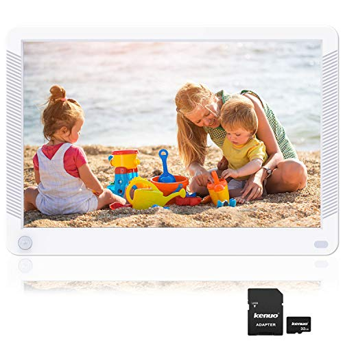 Kenuo 10.1 inch Digital Picture Frame Motion Sensor Include 32GB Card 1920x1080 IPS Screen Digital Photo Frame, Auto Power On/Off, Music Support 1080P Video, SD Card and USB, White