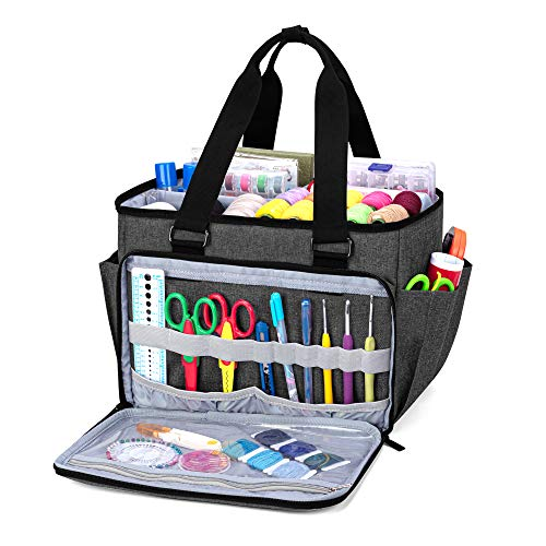YARWO Sewing Accessories Organizer, Craft Storage Tote Bag with Pockets for Sewing Accessories and Craft Supplies, Black
