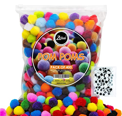 Zelssi [400 Pcs ] - 300 1 inch Pom Poms + 100 Googly Eyes - Vibrant Assorted Pompoms for Crafts, Multi Colored Pom Pom for DIY & Arts and Creative Crafts Projects and Decorations
