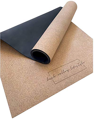 LUSH VALLEY LIFESTYLE | Premium Cork Yoga Mat for Everyday Use | Non-Slip Extra Grip for Hot Yoga | 100% Natural Cork & Rubber | Odor | Long/Wide/Thick for Knees | 71'x26'