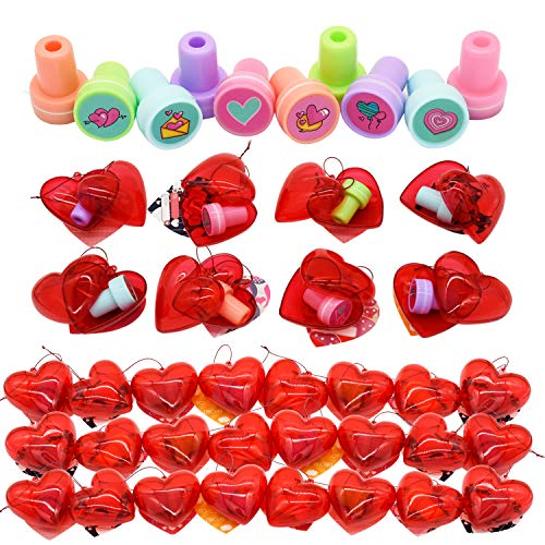 Kissdream 30 Packs Kids Valentine Party Favors Set with 30 Valentine's day style Stampers Filled Hearts and Valentine Cards for Kids Valentine Classroom Exchange, Kids Stampers for Kids Valentine, Gift Exchange & Game Prizes(1.15in)