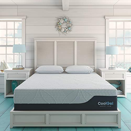 Classic Brands Cool Gel Chill Memory Foam 14-Inch Mattress with 2 BONUS Pillows |CertiPUR-US Certified |Bed-in-a-Box, Queen