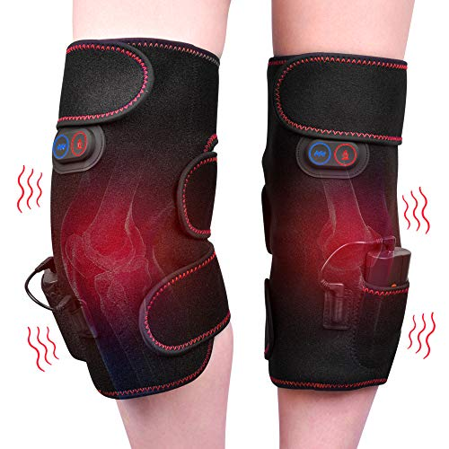 HailiCare Wireless Heated Knee Massager Vibration Knee for Reduce Knee Discomfort Relieve Muscle Pads Heated Knee Brace Wrap 2pcs Left and Right Powered by Portable Charger Heating Pads Best Gifts