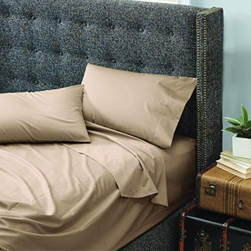 Cuddledown dreamstead Full Bed Soft, Easy, 100% Cotton, Luxury Sateen, Set Includes Fitted, Flat Sheet and Pillowcase, Khaki