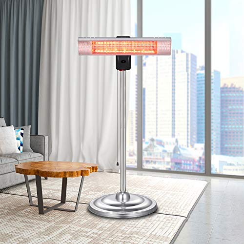 RMYHOME Infrared Patio Heater, Standing Electric Heater for Outdoor or Indoor with Rapid Heating, Adjustable Stainless Steel Tube, Remote Control, Energy Saving and Safety Protection