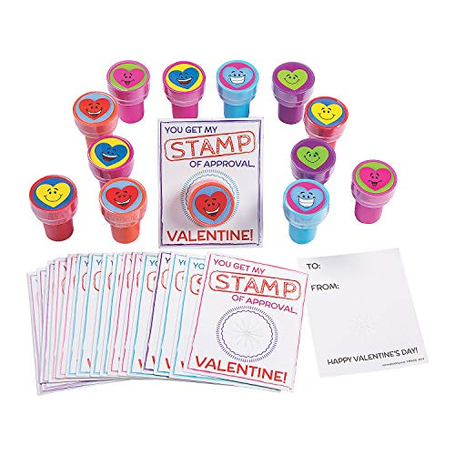 Fun Express Heart Stampers with Stamp of Approval Valentine's Day Card - Stationery - 24 Pieces