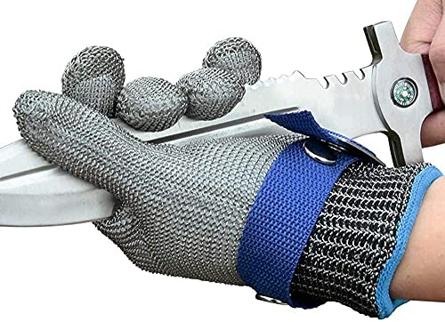 Schwer 2.0 Upgraded Version of Level 9 Cut Resistant Glove Upgraded Cutting Glove Durable Rustproof Reliable Stainless Steel Mesh Metal Wire Glove Latest Material Cutting Glove(XL)