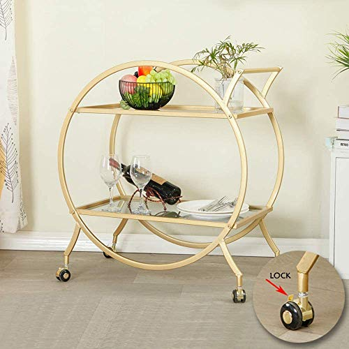 Bar Cart with 2 Mirrored Shelves, Modern Metal Bar Serving Cart with Locking Caster Wheels and Handle, Gold Round Bar Carts for The Home,Kitchen,Club,Living Room(28.34''W14.96''D31''H)