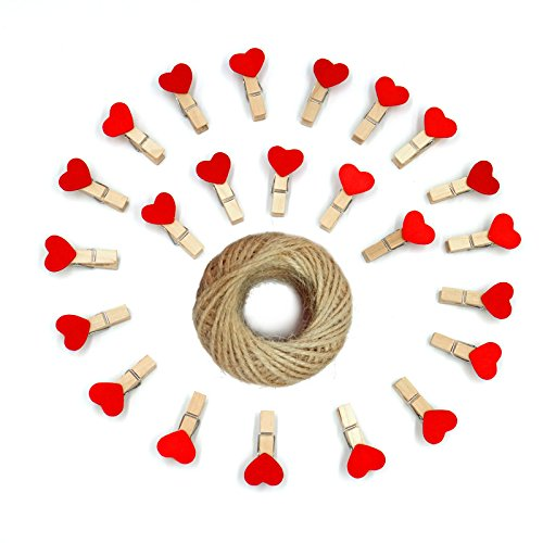 KINGLAKE 100 Pcs 3.5cm Red Heart Mini Wooden Clothespins with Spring Photo Paper Peg Pin Craft Clips Wooden Mini Clips with 100 Feet Jute Twine