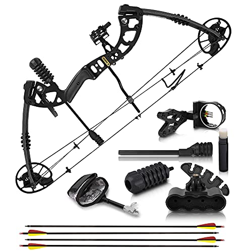 """2021 Compound Bow and Arrow for Adults and Teens – Hunting Bow with Gordon Limbs Made in USA - Fully Adjustable for Women and Youth 30-70 LBS, 23.5-30.5"""" - 320 FPS Speed – 5-Pin Sight, Quiver"""