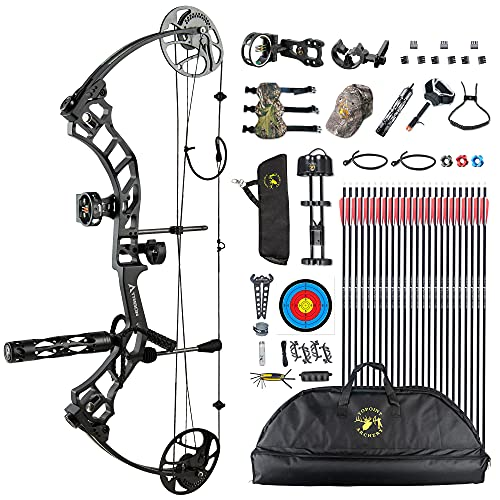 Topoint Trigon Compound Bow Full Package,CNC Milling Riser,USA Gordon Composites Limb,BCY String,19'-30' Draw Length,19-70Lbs Draw Weight,IBO 320fps