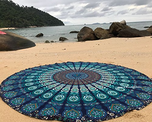 Raajsee Round Beach Tapestry Turquoise Mandala Throw/Boho Hippie Beach Blanket Roundie/Indian Cotton Bohemian Large Round Table Cloth-Home Decor/Yoga Mat Meditation Picnic Rug 69 inch