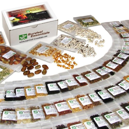 Heirloom Seeds for Planting Vegetables and Fruits - Survival Essentials 135 Variety Seed Vault - Medicinal Herb Seeds - Grow Healthy Non-GMO Food