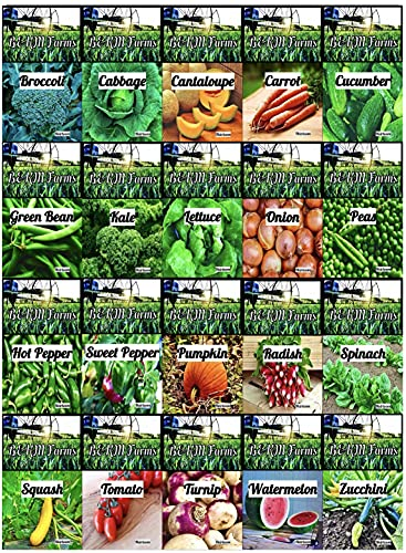 Set of 30 Vegetable & Melon Seeds Perfect for Your Home Garden 30 Varieties-All Seeds are Heirloom, 100% Non-GMO, Non-Hybrid! USA Grown. by B&KM Farms. 30 Different Varieties. (20 Pack)