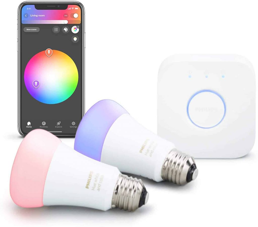 Philips Hue 2-Pack Premium Smart Light Starter Kit, 16 million colors, for most lamps & overhead lights