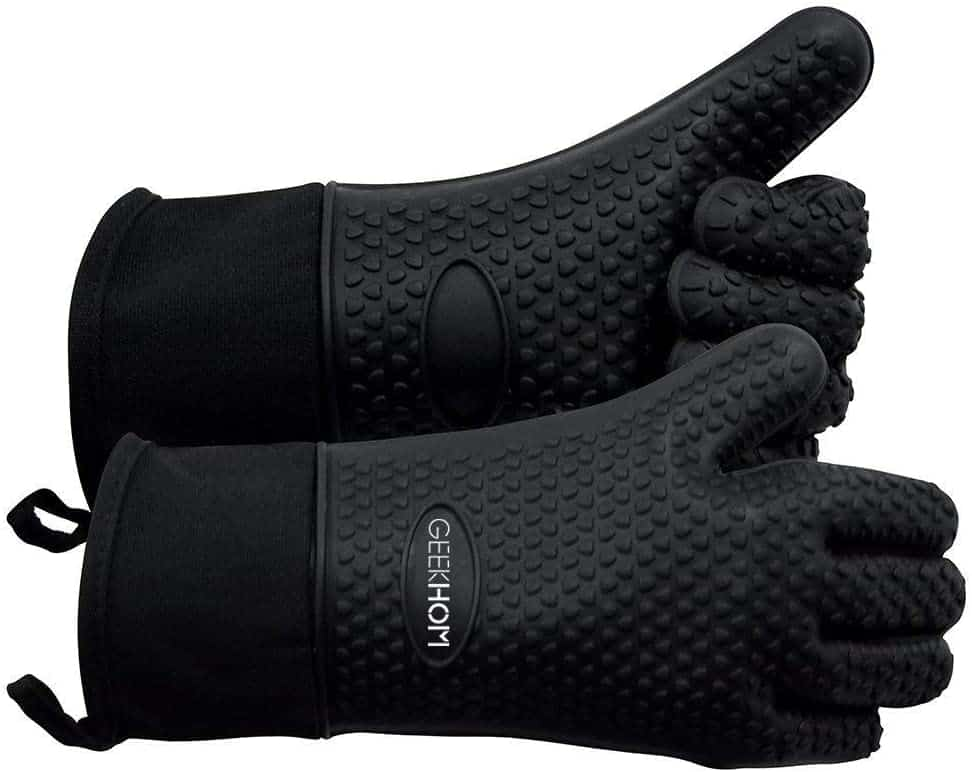 GEEKHOM Grilling Gloves, Heat Resistant Gloves BBQ Kitchen Silicone Oven Mitts