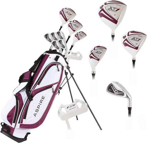 Aspire X1 Ladies Women's Complete Golf Club Set Includes Driver, Fairway, Hybrid, 6-PW Irons, Putter, Stand Bag, 3 H/C's Purple, Regular or Petite Size, Women's Golf Club Set