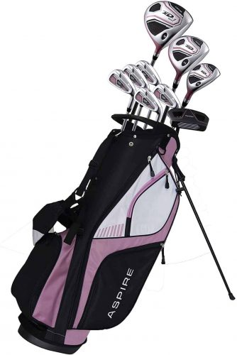 Aspire XD1 Ladies Womens Complete Right Handed Golf Clubs Set Includes Titanium Driver, S.S. Fairway, S.S. Hybrid, S.S. 6-PW Irons, Putter, Stand Bag, 3 H:C's Pink