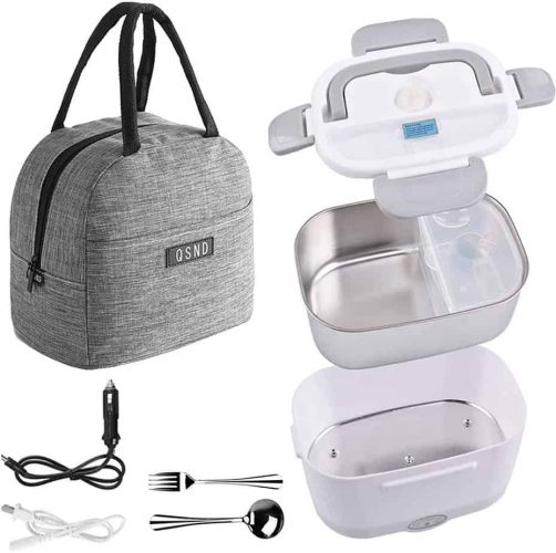 Electric Lunch Box, 2 in 1 Food Heater Portable Microwave Electric Lunch Boxes with Insulation Bag