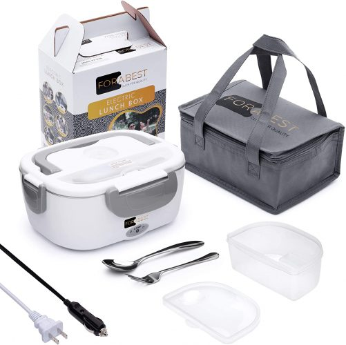 Electric Lunch Box Food Heater - FORABEST 2-In-1 Portable Food Warmer Lunch Box for Car & Home