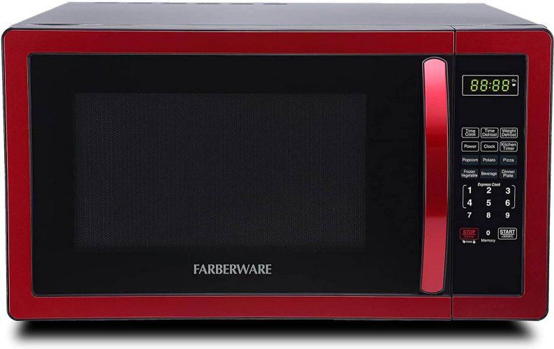 Farberware Classic FMO11AHTBKN 1.1 Cu. Ft. 1000-Watt Microwave Oven with LED Lighting, Metallic Red