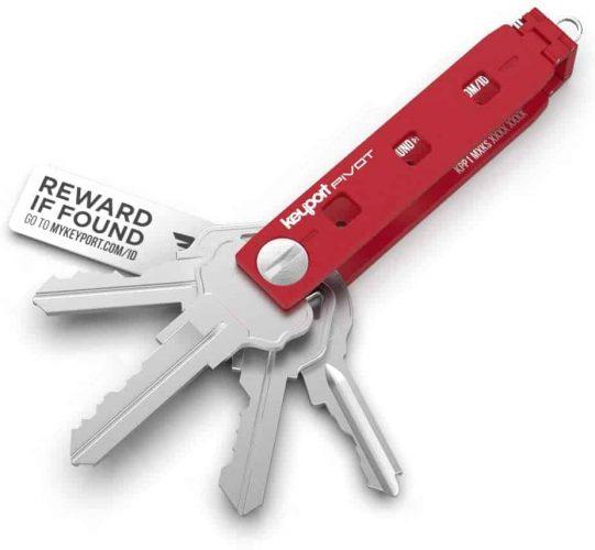 Keyport Pivot Key Organizer - Pocket Key Holder - EDC Multi-Tool Keychain - Modern Swiss Army Key Chain with Lost & Found All-in-One (Red)
