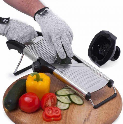 Mandoline Slicer with Cut-Resistant Gloves and Blade Guard – Adjustable Mandolin Vegetable Slicer and French Fry Cutter, Food Slicer, Vegetable Julienne – Thick Sharp Stainless Steel Blades Brand: Grocery Art